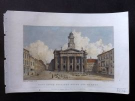 Westall 1830 Hand Col Print. Lancaster Sessions House and Market